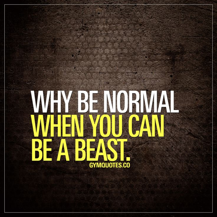 Why be normal when you can be a beast. Don't be normal. #trainharder #beabeast #dontgiveup #gymmotivation www.gymquotes.co