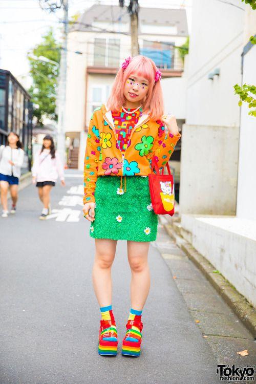 Sasakure on the street in Harajuku wearing a...   Tokyo Fashion