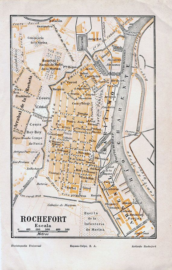 1920s Vintage Map of Rochefort France Street by CarambasVintage