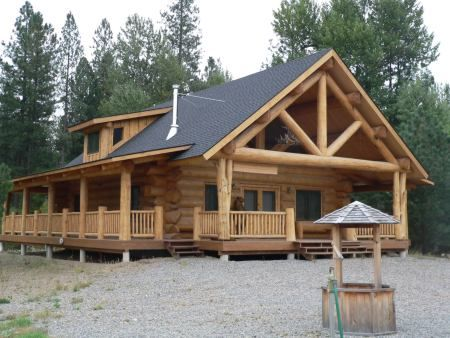 90 best rocky mountains log cabins images on pinterest for Full wrap around porch log homes