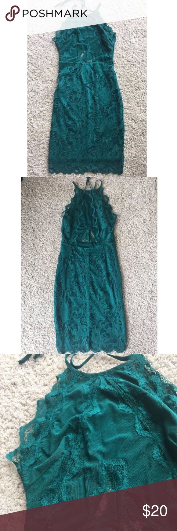 H&M Emerald Green Lace Dress Open Back Dress 4 H&M  Women's dress  SiZe 4  Emerald green lace  Tried on, but never wore!  New without tags  GORGEOUS!!  Double lined, some see through parts.  Lace  Open back, ties at neck  Knee length.  Excellent quality.  Purchased for $39.99 plus tax  Small portion of loose lace at back and can be easily repaired- see last pic H&M Dresses Backless
