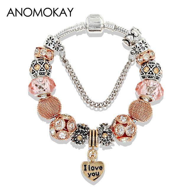 Gold Tone Heart charms Bracelets