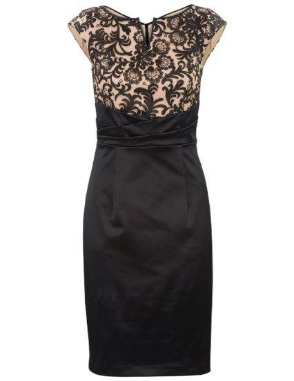 Elegante jurk met kanten lijfje Zwart