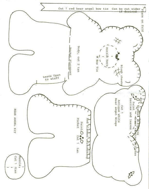 free craft patterns | Felt Angel Bear Pocket - Free Craft Pattern - Web of Angels