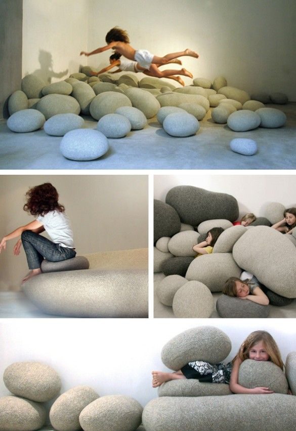 "Faux-Rock ""Livingstone"" Wool Floor Pillows By Smarin  These are really neat!  My boys would love jumping in a pile like this...just need a basement to go with them :o)"