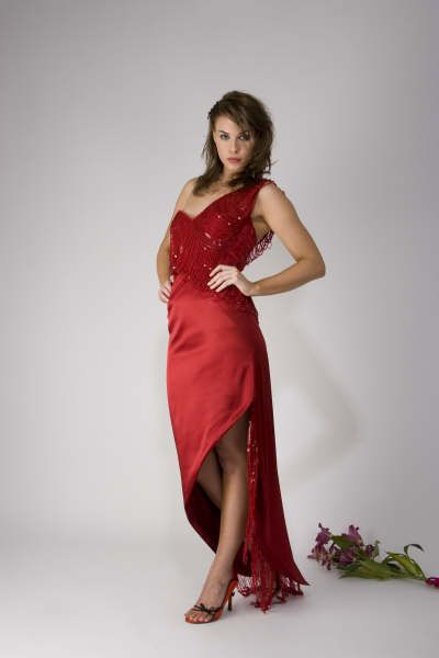 Red one-shoulder dress with beaded detail http://www.arcarocouture.com.au/