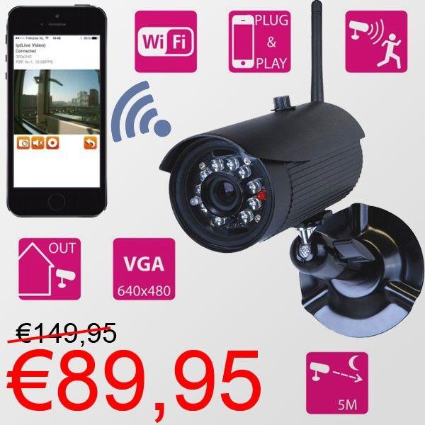 WiFi Outdoor IP-Camera met ingebouwde microfoon en bewegingssensor €89,95! www.euro2deal.nl