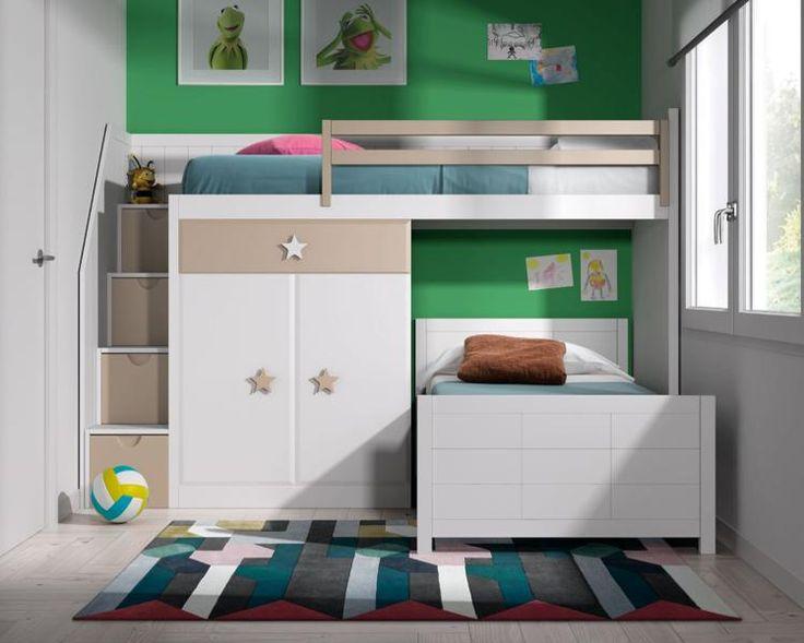 Conjunto litera dados tren l incluye cama baja cama alta - Escalera cama infantil ...