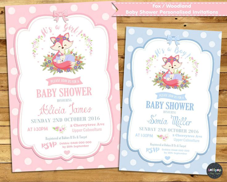 FOX BABY SHOWER PERSONALISED INVITATION INVITE CARD GIRL BOY WOODLAND FOREST…