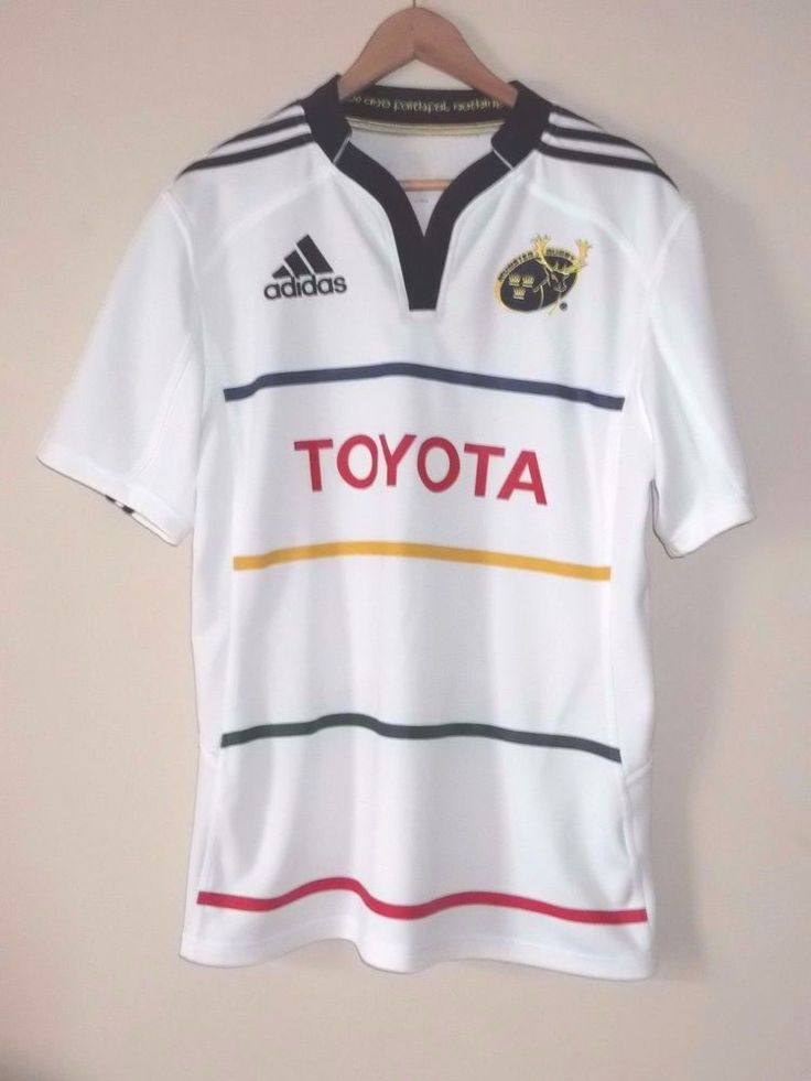 Munster Rugby Away Kit ADIDAS Men's Large White Jersey Shirt #Adidas