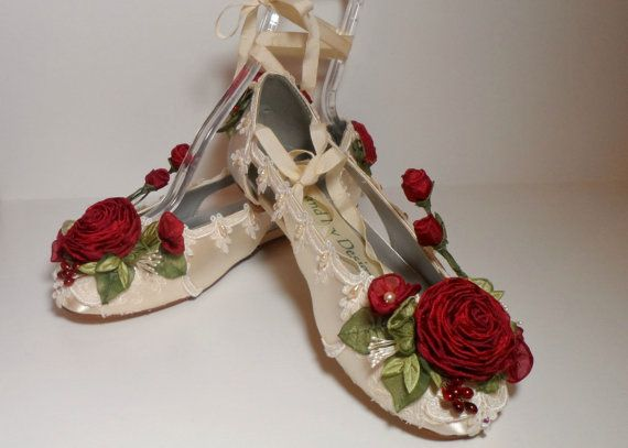 Ballet Flats With Red Roses Bride's Wedding by lambsandivydesigns, $165.00
