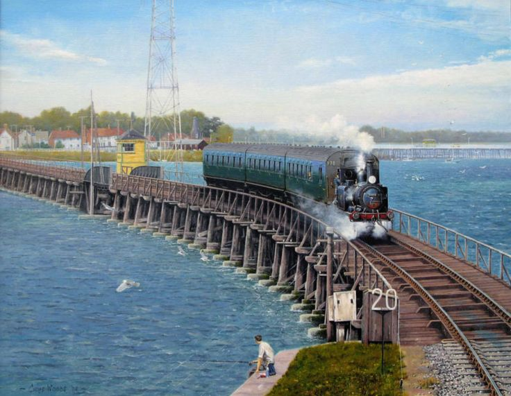 "Railway print ""Hayling Billy"" by Cris Woods featuring Langston/Hayling Island"