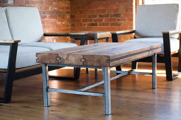 Mill Towne Collection - Reclaimed wood Coffee Table made from heart pine textile mill floor boards and tube steel natural metal frame.