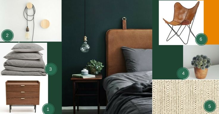 Planche d'ambiance chambre vert forêt et cuir