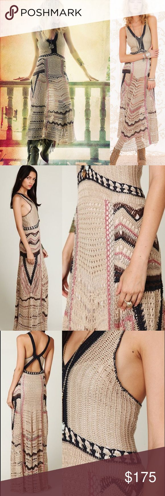 Free People Spun Eighty Stages Crochet Dress Sheer crochet maxi dress with colorful patterns throughout. Crossing straps in the back. 100% Linen Dry Clean Only *Import NWT- however the original tag with barcode came off when I purchased in-store at a FP boutique. They placed their own FP tag with hand written price and product code, which is 22787766. Not sure if that matters to anyone, as it's still new with tags and never worn, but I wanted to be clear :)  Measurements for Size Small…