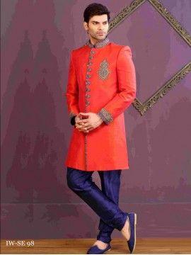 Stunning Orange Color Mens Indowestern