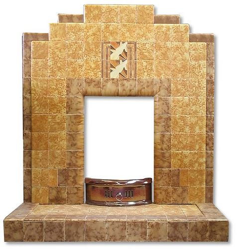 Art Deco tiled fireplace