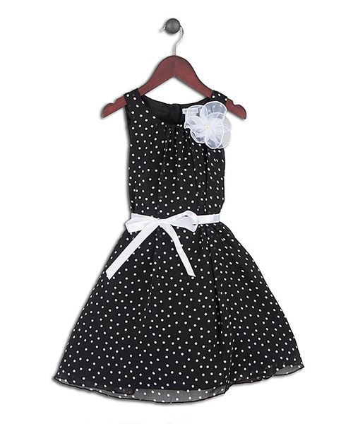 Take a look at the Joe-Ella Black Polka Dot Rosette Dress - Girls on #zulily today!