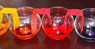 ЭКСПЕРИМЕНТ С БУМАГОЙ И ЖИДКОСТЬЮ  Проведение этого эксперимента займет у вас некоторое время, но, поверьте, ожидание того стоит.  Нам понадобится: • 5 стаканов (можно упростить эксперимент и использовать 3 стакана) • вода • пищевые красители • бумажные полотенца  Проводим эксперимент:  1. Заполните водой первый, третий и пятый стакан, добавьте в них пищевые красители: синий, красный, желтый. Один цвет в один стакан.  2. Хорошенько перемешайте воду, чтобы красители растворились.  3. Отрежьте…