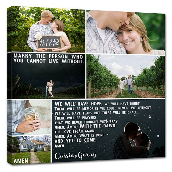 Storyboard Wedding Photo Collage with quotes, words  Personalized Canvas with Text Large Wall Art 24X24 nches via Etsy