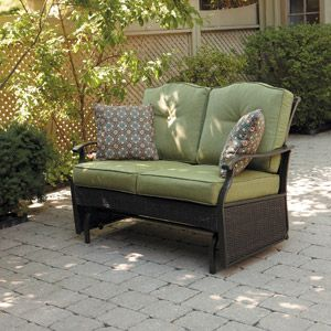 """Providence Outdoor Glider Bench, Green, Seats 2, walmart, Model No.: FRS62227RL, Walmart No.: 550879765. $249. online. Bench supports 2 people up to 450 lbs Dimensions: 26.97""""L x 24.21""""W x 35.24""""H"""