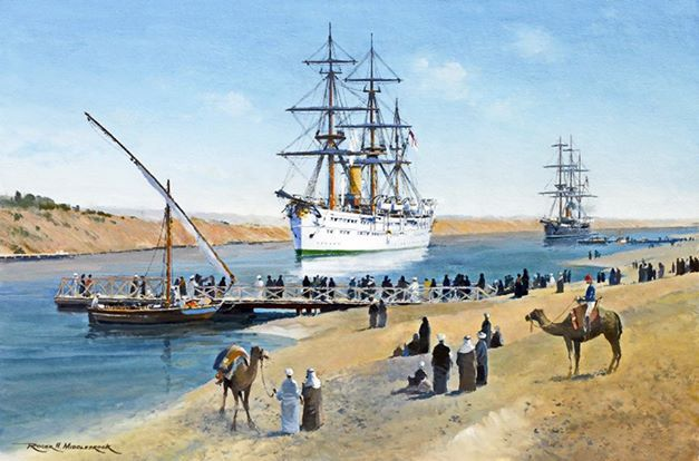 HMS Serapis British Royal Navy Troop Ship 1875 on a state trip to India representing Queen Victoria By Naval Artist Roger H. Middlebrook