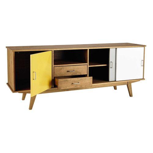 Credenza bassa vintage gialla/grigia/bianca in legno L 180 cm