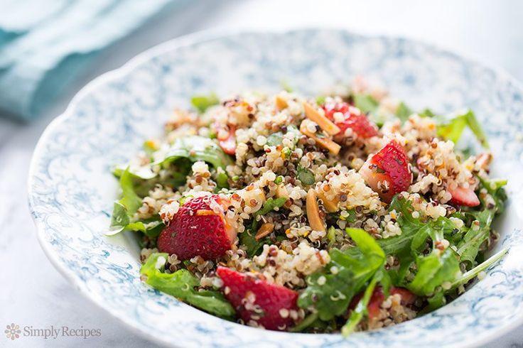 Quinoa salad with fresh strawberries, arugula, toasted almonds, mint and a citrus vinaigrette