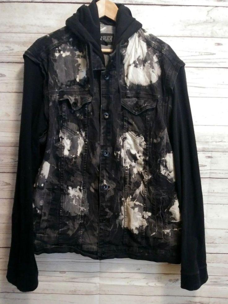 Hot Topic RUDE Men's Gray Black Acid Wash Denim Jean Jacket Hoodie Size 3XL #HotTopicRUDE #JeanJacket