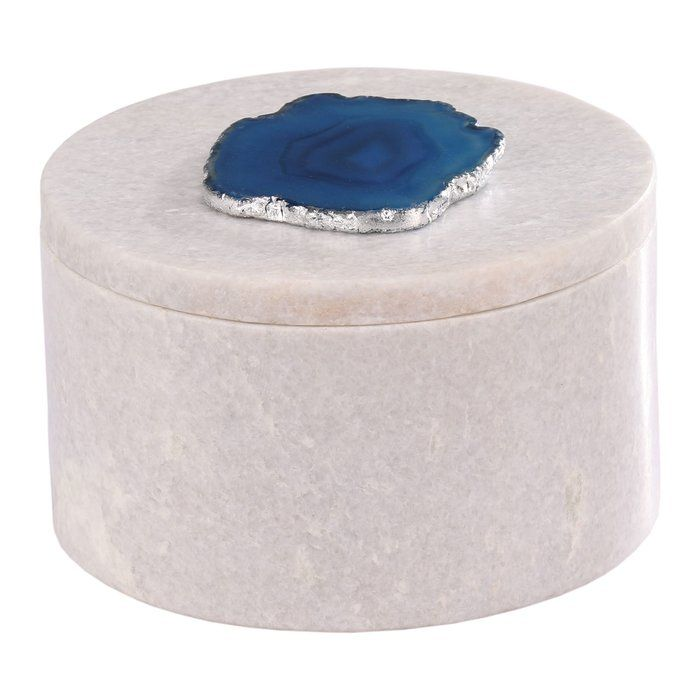 Bungalow Rose store Bungalow Rose treasures in ought to be at least as interesting as what is inside, yes? Presenting Bungalow Rose handcrafted round agate box. The cool elegance of quality marble crowned with a generous oval of highly polished, foil-lined volcanic Blue agate; whose exquisite banding showcases discrete depths of soothing ultramarine, evocative of a sparkling Caribbean lagoon. Perhaps what's inside won't be as nice after all.