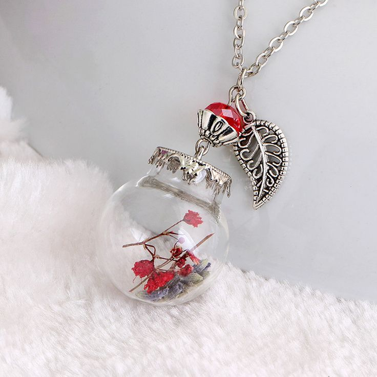 Beautiful Danbihuabi Glass Bottle Dried Flower Vial Necklace
