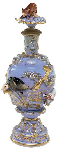 JACOB PETIT STYLE PORCELAIN SLATE-BLUE-GROUND SCENT BOTTLE AND STOPPER.