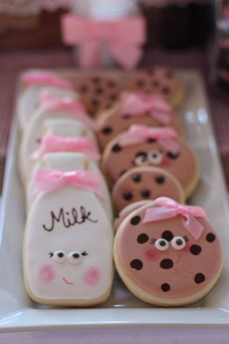 Milk and Cookie Sugar Cookies on Rustic Milk and Cookie Birthday Party Sweets Table Chocolate Chip Cookies Milk Bottle Sugar Cookies