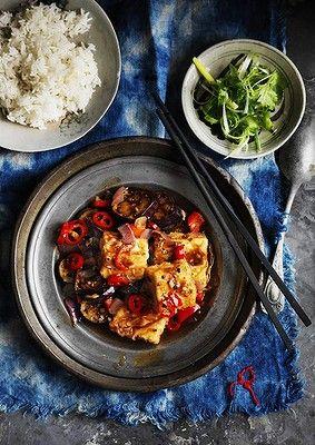 Black pepper tofu with eggplant.
