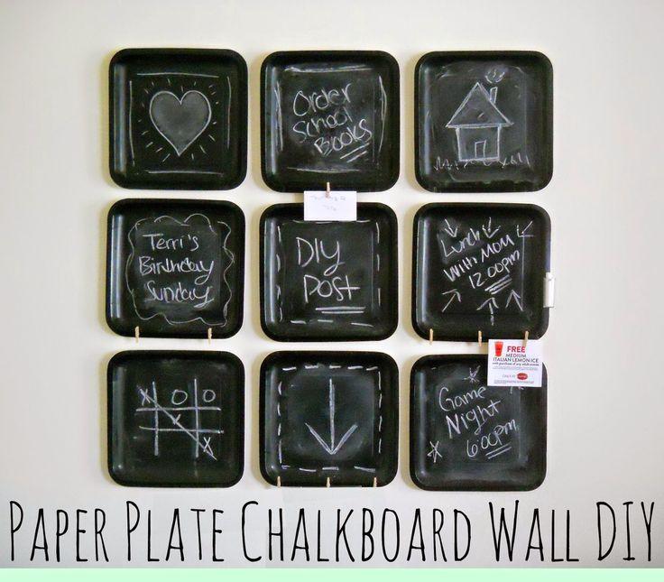 Running With A Glue Gun: Paper Plate Chalkboard Wall DIY