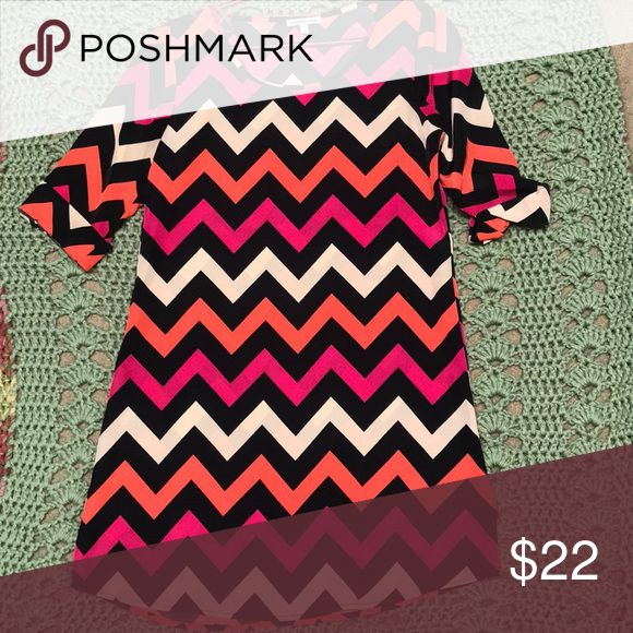 Pink and Orange Chevron Dress Worn a couple times Great condition  Very bold pigments  Gold accent buttons on sleeves Charlotte Russe Dresses Long Sleeve
