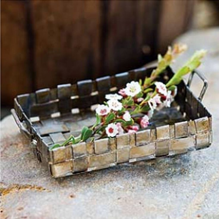 Tiny Lattice Woven Flower Basket, Miniature Weave Rustic Garden Basket with Handles, Antiqued Fairy Garden Supplies & Accessories by TinkerTreasuresMinis on Etsy https://www.etsy.com/listing/552777060/tiny-lattice-woven-flower-basket