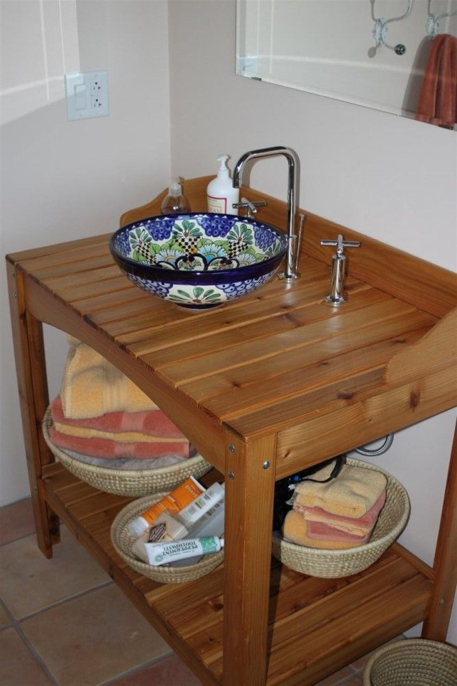 Exceptional Log Home Progress Upstairs Bathroom Cedar Potting Bench Turned Vanity With  A Talavera Vessel Sink From Mexico U2013 The Forbes Family