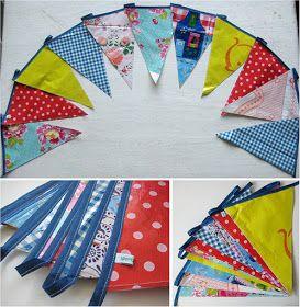 Vlaggenlijn zelf maken van tafelzeil en of oude plastic shoppers. Voor een buitenfeestje leuk