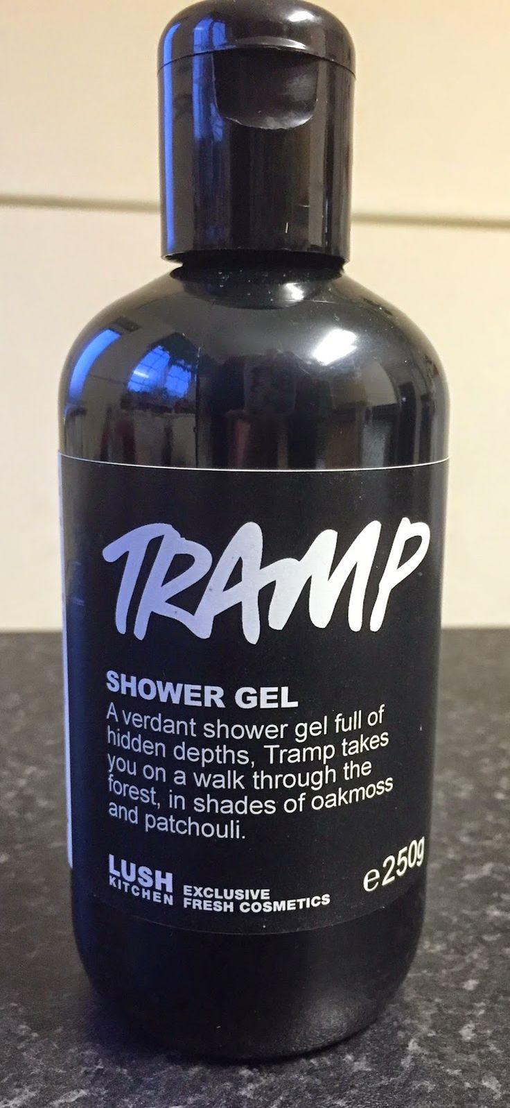 "Tramp Shower Gel: ""A verdant shower gel full of hidden depths, Tramp takes you on a walk through the forest, in shades of oakmoss and patchouli"""