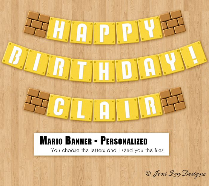 Super Mario Bros. Birthday Banner - Printable, Personalized - Party Supplies $5.95