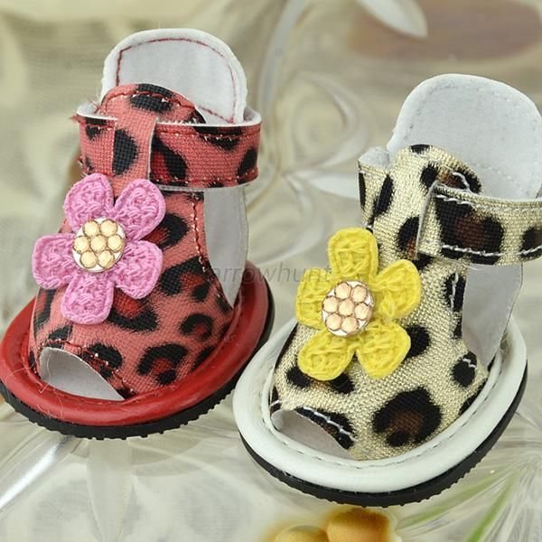 Pet Dog Puppy Shoes PU Leather Leopard Printed Sandal Breathable Boots Shoes AR #unbranded
