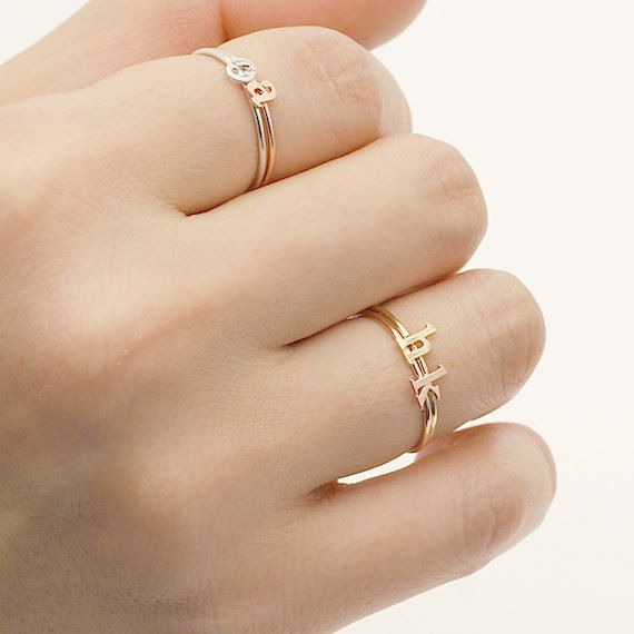 Stackable Initial Ring / initial name ring. lower case, small letter, personalized ring, letter ring, alphabet ring / R135