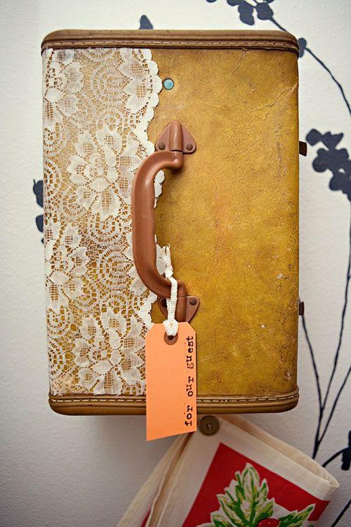 #DIY Vintage suitcase vanity! LOVE the lace! http://www.designsponge.com/2012/01/diy-project-suitcase-vanity-towel-holder.html