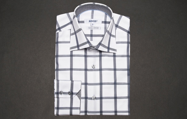 Grey Squares Shirt (Double twisted), Waisted-fit - Dress Shirts for Men - French-Shirts.com