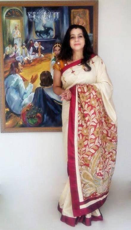 Pen Kalamkari Designer Saree by Paarvati Kiriyath Bharath