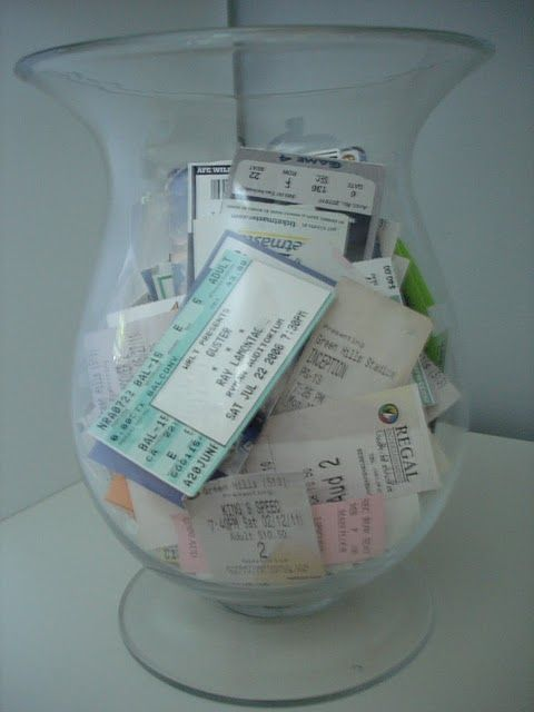 ticket stubs on display. great idea and a conversation piece.  love it