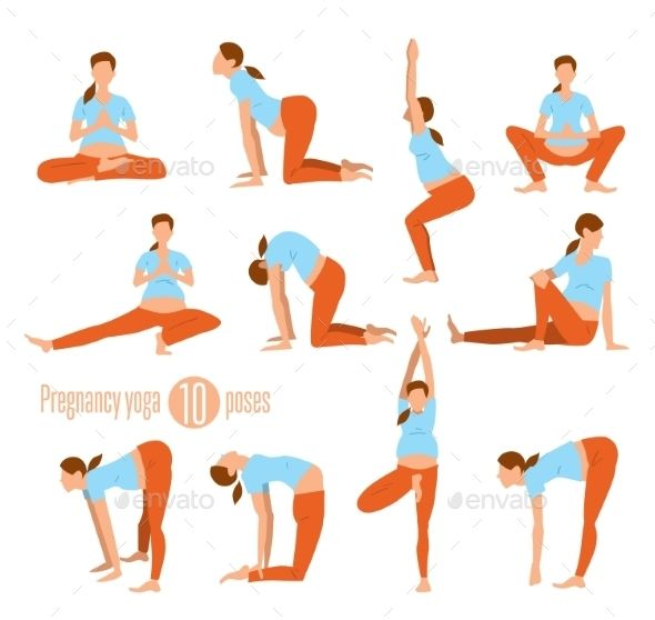 Pregnancy yoga. Yoga for pregnant women. Doing Stretches and Light Weight Aerobi…