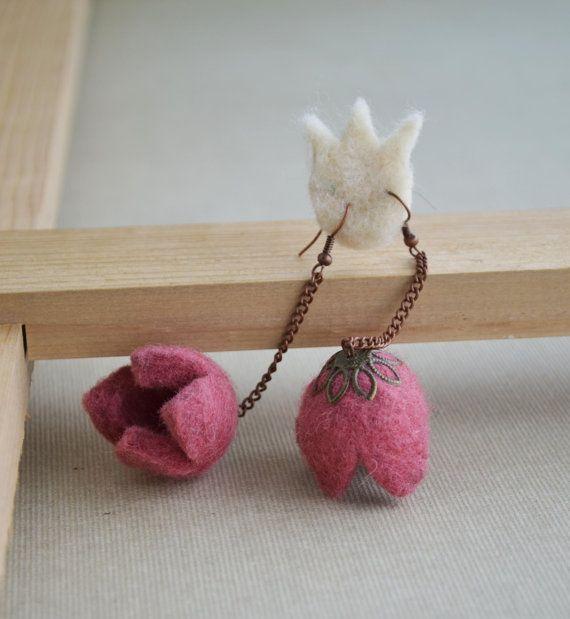 Tulip earrings - felt tulip earrings – pink earrings