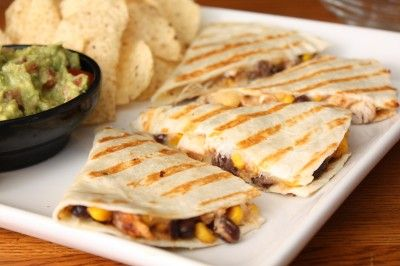 chicken corn and black bean quesadillas. ★★★★★ soooo good. we froze two of the four and they are yummy leftovers. these were surprisingly fabulous and easy.